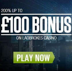 Ladbrokes Casino Promo Code Bonus for 200% up to £100