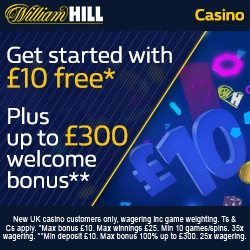 William Hill Casino Promo Code WHC3000 for £10 Free Spins No Deposit Bonus
