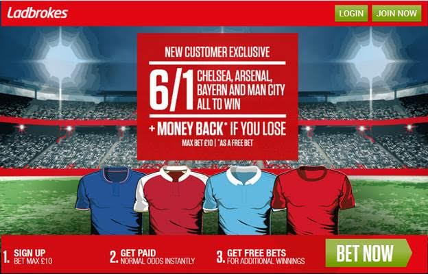 Ladbrokes Enhanced Four Fold – Chelsea, Arsenal, Bayern and Man City All to Win Pays 6/1!