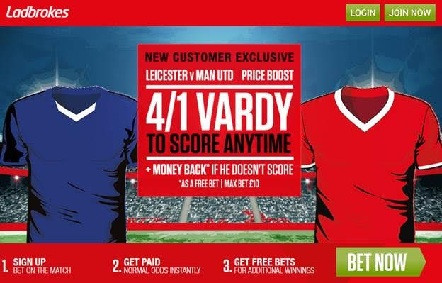 Ladbrokes Weekend Specials – Jamie Vardy Risk-Free Bet