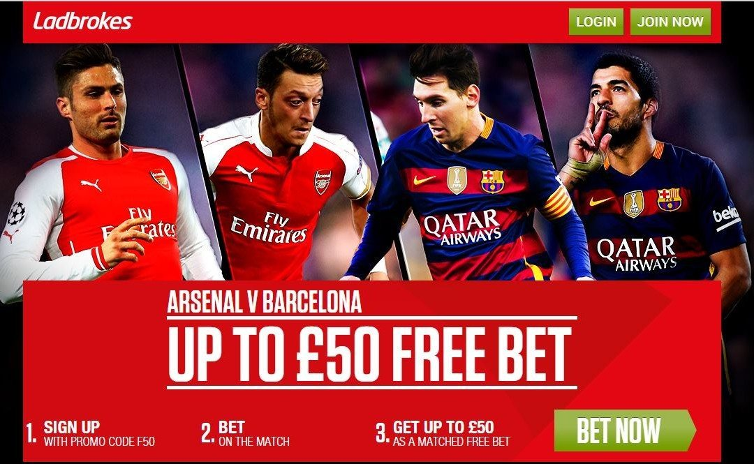 Ladbrokes Arsenal vs Barcelona Free Bet & Price Boosts