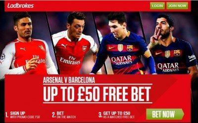 Ladbrokes Arsenal vs Barcelona Free Bet & Price Boosts