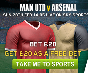 William Hill Man Utd v Arsenal Free Bet, Daily Vegas Bonus, Casino, Bingo Promos