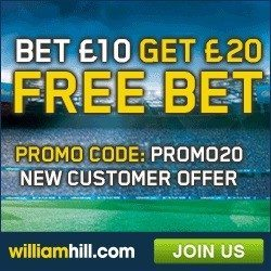 William Hill Free Bet with Promo Code PROMO20