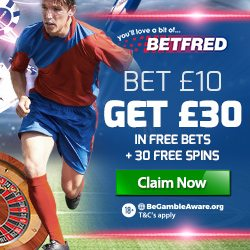 Betfred Promotion Code for £30 Free Bet + 30 Free Slot Spins