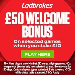 Ladbrokes Casino No Promo Code – £50 Welcome Bonus and 20 Free Spins
